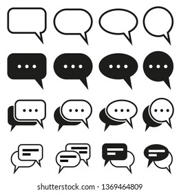 Chat, Speech, quote, message, communication, bubble symbol vector icon isolated on White Background.