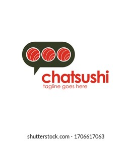 Chat Sushi Logo Template Design