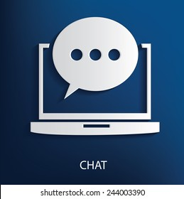 Chat symbol on blue background, clean vector