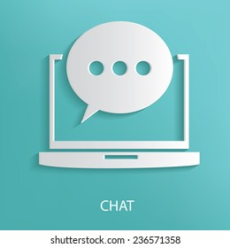 Chat symbol on blue background,clean vector