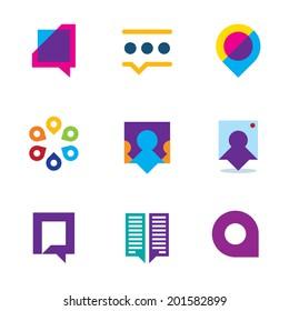 Chat talk bubble people conversation video communication icon logo set