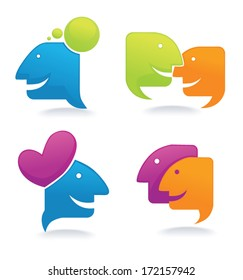 chat, talk and communication , vector set of  icons and symbols for your design