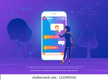Chat talk concept vector illustration of young woman standing near big mobile smartphone and sending messages to friends. Modern gradient line design of people texting message in chat messenger app