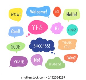 Chat words bubbles. Colorful thinking balloon conversion bubbling chatting comments information cloud comic voice shapes vector set. Message for dialog, bubble cloud speech, discussion illustration