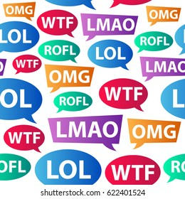 Chat words - LOL OMG WTF ROFL LMAO. Internet slang used in blog, chat, email, forum communication. Vector seamless pattern.