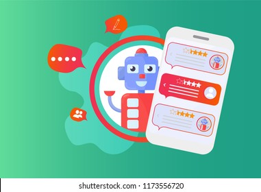 Chatbot advisor vector illustration: chat bot support robot and smartphone. Mobile Help Support Advisor Chatbot  Machine Learning concept.