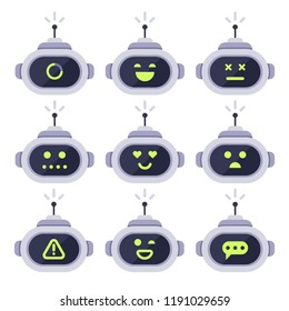 Chatbot avatar. Computer chat bots, android robot facial expressions and robotic cyborg head. Robots digital assistant adviser chatterbot face with antenna logo or bot vector isolated icon set