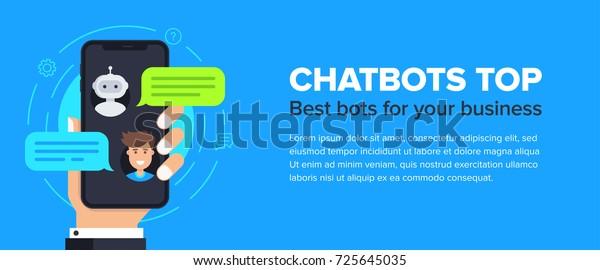 Chatbot Banner Concept Horizontal Business Banner Stock