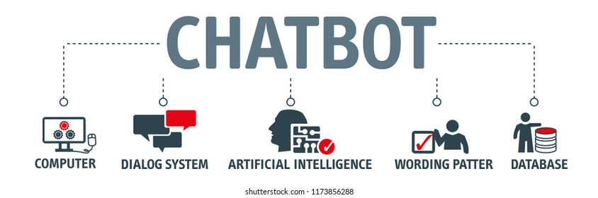 Chatbot banner vector illustration concept. Horizontal business banner template with keywords and icons
