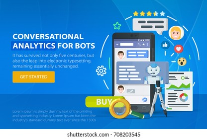 Chatbot business concept. Messenger window. Chating and messaging concept. Chatbot and future marketing analytics. Dialog box of mobile phone. Smartphone on a blue background. Vector illustration