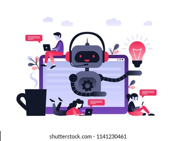Chatbot business concept. Modern banner for the site. Chatbot, artificial intelligence, customer support, hotline with bot. Ultra violet flat vector illustration with computer on desk an small people