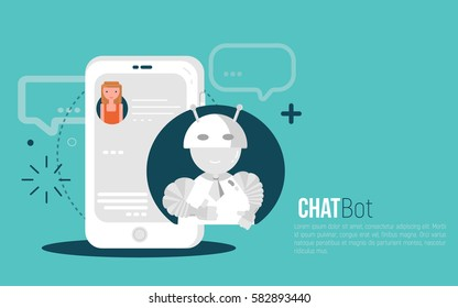Chatbot business concept. User Girl chatting with robot mobile application. Bot concept in flat modern style. Vector illustration.