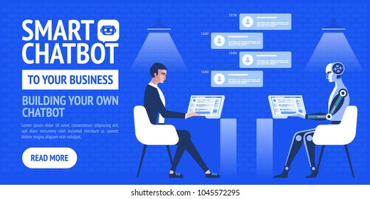 Chatbot business concept. Vector Modern banner for the site, web, brochure cards,  flyear, magazines, book cover.