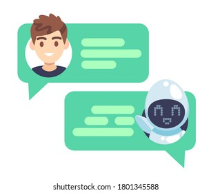 Chatbot character. Online helper chatting with man, virtual robot answers questions by customer, device screenshot with speech bubbles and avatars, dialog help service flat vector concept