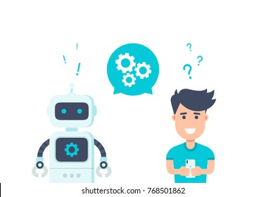 Chatbot concept. Customer service robot. Man chatting with chat bot. User asks robot the question and gets an answer.