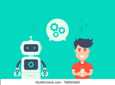Chatbot concept. Customer service robot. Man chatting with chat bot. User ask robot the question and get an answer. Change settings with bot. Conversation with chat bot. Vector flat illustration