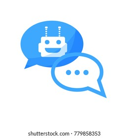 Chatbot concept. Flat design avatar bot. Chat with robot and human. Vector illustration. Isolated.