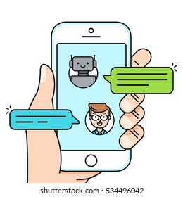 Chatbot concept. Man chatting with chat bot on smartphone. Vector illustration