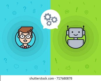 Chatbot concept. Man chatting with chat bot. Interaction with robot. Change settings with a bot. Communication with chat bot. Vector illustration