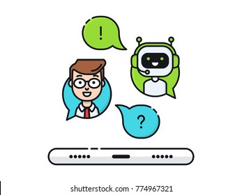 Chatbot concept. Man chatting with chat bot on smartphone. Mobile connection, communication with ai. Vector flat line illustration.  User ask robot the question and get an answer