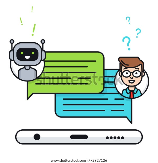 Chatbot Concept Man Chatting Chat Bot Stock Vector (Royalty
