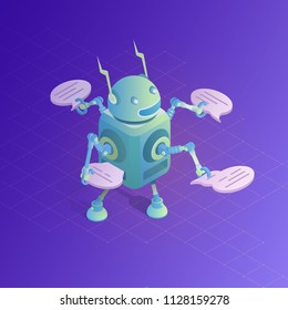 Chatbot concept. Online assistant. Communication with robot. Isometric vector illustration