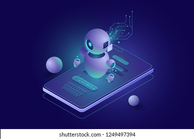 Chatbot concept, personal helper, machine learning, Isometric artificial intelligence, digital marketing dark neon vector 3d