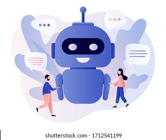 Chatbot concept. Tiny people chatting with chatbot application. AI robot assistant, online customer support. Modern flat cartoon style. Vector illustration on white background