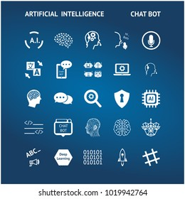 Chatbot , deep learning , artificial intelligence technology trend concept. White icons set of ai on blue background.