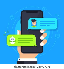 Chatbot flat icon. Man chatting with chat bot on smartphone. Hand holds phone with sms bubbles on screen. Chat messages notification on phone. Vector modern cartoon illustration