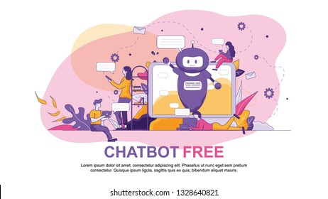 Chatbot Free Vector Illustration Banner on Screen Blue Artificial Intelligence Welcomes. Girl Sends Message on Smartphone and Student Communicates New Technologies. Voice Assistant Consultation.