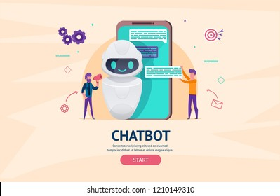 Chatbot future concept. helping bot in smartphone. artificial intelligence with little people chatting with robot. Dialog help service. AI.  illustration for landing web page or mobile development.