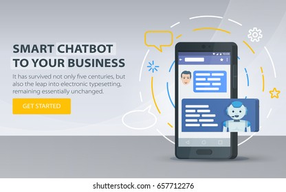 Chatbot and future marketing concept. Chatbot business concept. Modern banner for the site. Dialog box of mobile phone. Smartphone on a gray background. Vector illustration