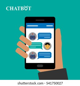 Chatbot and human conversation on smartphone, vector illustration