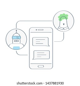 Chatbot, human conversation with robot on smartphone display. Chatting with bot, online support, talking to a chatbot online, customer service and support. Flat outline chatbot vector concept on white