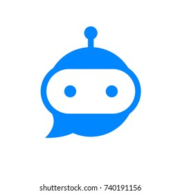 Chatbot icon. Bot sign design. Chat bot logo concept. Robot head in speech bubble. Online support service bot. Modern flat illustration isolated on white