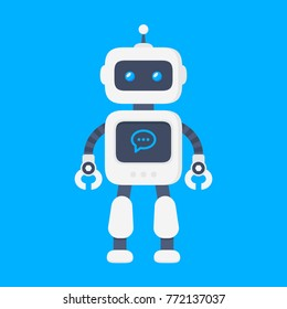 Chatbot icon concept. Robot sign design. Modern flat style bot symbol. Future machine bot. Vector modern character illustration isolated on blue background
