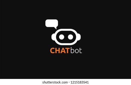 Chatbot icon or logo isolated on a black background. Simple modern design. Cartoon style character. Cute robot with dialog bubble. Flat style vector illustration.