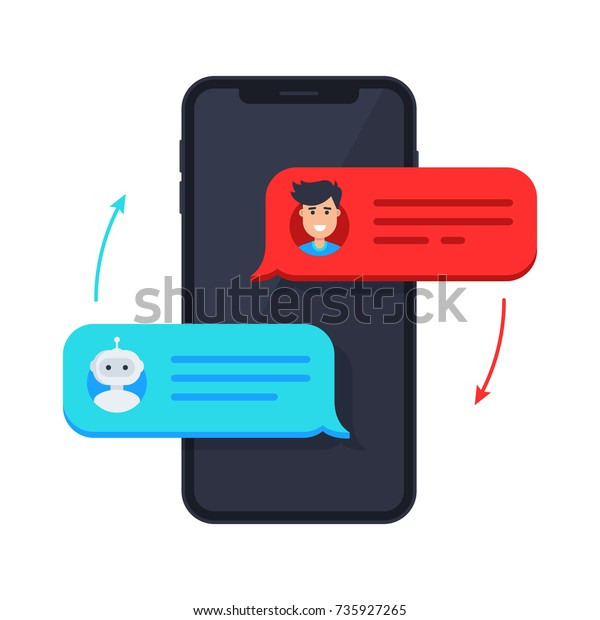 Chatbot Icon Man Chatting Chat Bot Stock Vector (Royalty Free) 735927265
