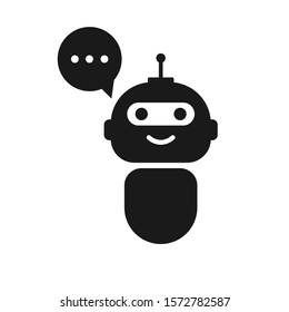 Chatbot icon on white background. Bot icon. Cute bot with speech bubble. Smiling customer service robot for perfect mobile and web service.