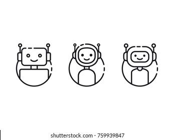 Chatbot icon set. Bot line icon design. Cute smiling robot icon set. Modern outline robot characters isolated on white. Vector illustration