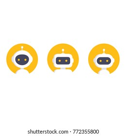 Chatbot icon set. Robot icon. Bot sign design. Chatbot symbol concept. Voice support service bot. Online support robot. Modern yellow flat style cartoon character illustration. Isolated on white
