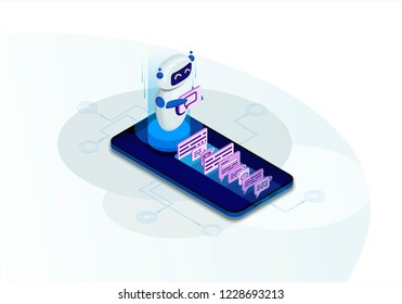 Chatbot isometric vector illustration. Chat bot receiving client messages. Future marketing. AI and business. Website assistance. Customer service infographic. IOT 3d concept. Mobile app design