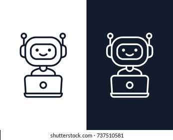 Chatbot line icon. Bot sign design. Cute robot working behind laptop. Smiling customer service robot. Flat line style vector illustration isolated on white and black backgrounds