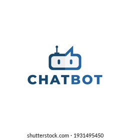Chatbot logo design template for technology industry. Combination of robot and speech bubble.