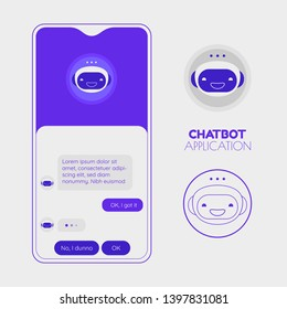 Chatbot mobile application screen mockup with various chatbot app icons