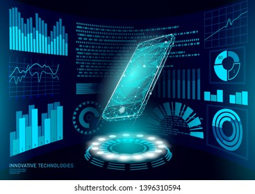 Chatbot mobile smartphone 3d virtual reality. Visual imagination low poly polygonal geometric shapes. Creative e-learning reading electronic touch screen. HUD display vector illustration