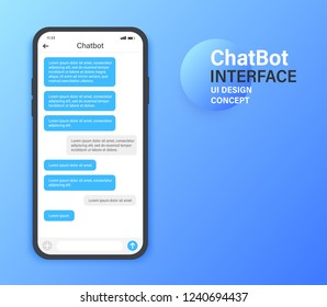 Chatbot mobile UI design concept. Sms Messenger. Online conversation with texting message. Vector illustration.