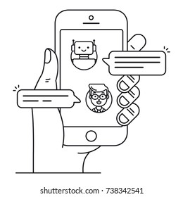 Chatbot outline icon concept. Man chatting with chat bot on smartphone. Hand holds mobile phone with messenger in which robot talk with user. Flat line vector illustration isolated on white