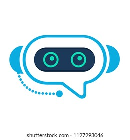Chatbot. Robo advisor (robo adviser). Chat bot robot like assistant. Concept of  digital advisor avatar to help the customer. Gravatar. Robotic operator like chatterbox. Flat style.